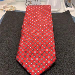 SILK Tie Yvette St Laurent Red/Green. Worn. #A248